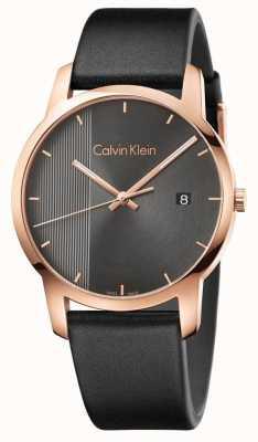 Calvin Klein   Mens Black Leather City Watch   K2G2G6C3