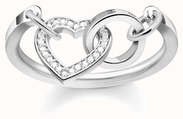 Thomas Sabo Glam & Soul Sterling Silver, Zirconia Heart Ring TR2142-051-14-54