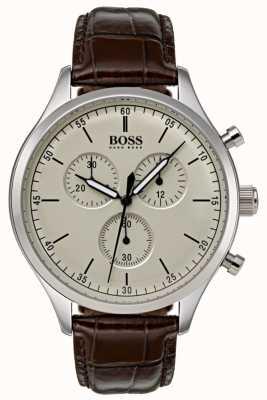 Boss Mens Companion Chronograph Brown Leather Strap 1513544
