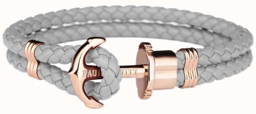 Paul Hewitt Phrep Rose Gold Anchor Grey Leather Bracelet Large PH-PH-L-R-GR-L