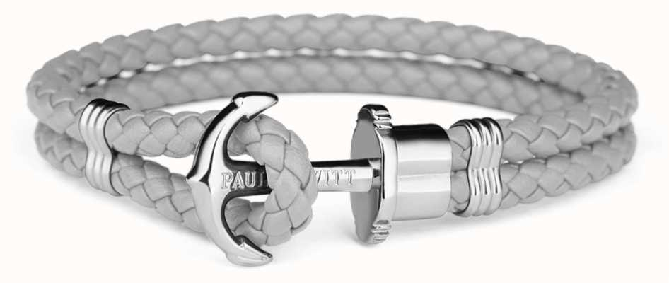 Paul Hewitt Jewellery Phrep Silver Anchor Grey Leather Bracelet Large PH-PH-L-S-GR-L