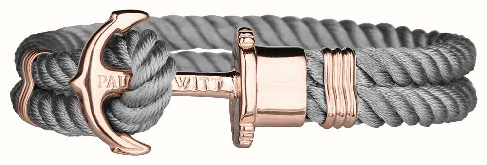 Paul Hewitt Phrep Rose Gold Anchor Grey Nylon Bracelet Large PH-PH-N-R-GR-L