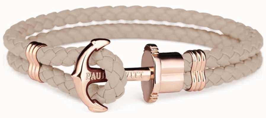 Paul Hewitt Phrep Rose Gold Anchor Hazlenut Leather Bracelet Large PH-PH-L-R-H-L