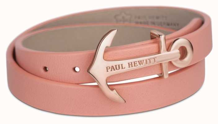 Paul Hewitt Northbound Rose Gold Anchor Aurora Leather Bracelet Small PH-WB-R-24S