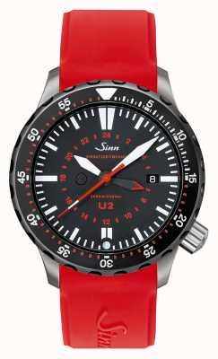 Sinn U2 SDR U-BOAT STEEL MISSION TIMER DIVER RED SILICONE 1020.040