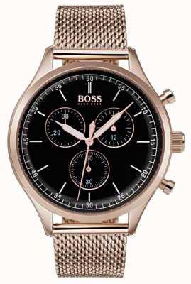 Hugo Boss Mens Companion Chronograph Rose Gold Tone Mesh Bracelet 1513548