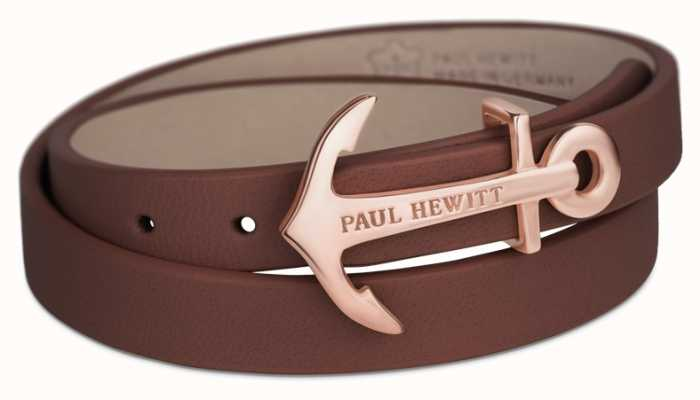 Paul Hewitt Northbound Rose Gold Anchor Brown Leather Bracelet PH-WB-R-1M