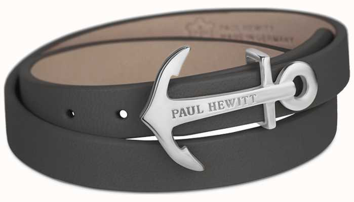 Paul Hewitt Northbound Rose Gold Anchor Grey Leather Bracelet PH-WB-S-13M