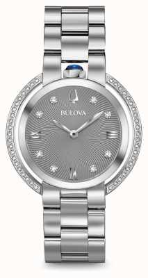 Bulova Womans Rubaiyat Silver Tone Diamond Watch 96R219