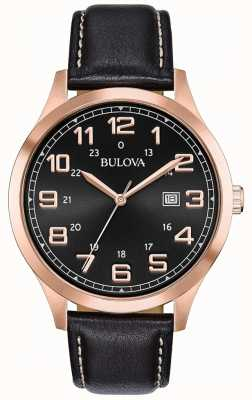 Bulova Mens Dress Watch Black Leather Rose Gold Tone Case 97B164