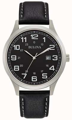 Bulova Mens Dress Watch Black Leather Steel Case 96B276
