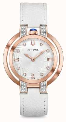 Bulova Womans Rubaiyat White Leather Strap Diamond Set 98R243