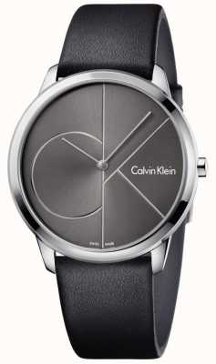 Calvin Klein Unisex Minimal Watch Black Leather Strap K3M211C3