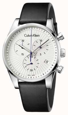 Calvin Klein Unisex Steadfast Chronograph Black Leather K8S271C6