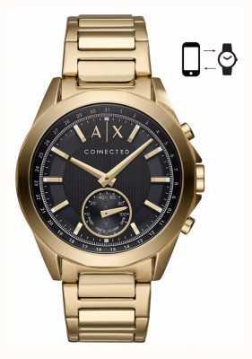 Armani Exchange Mens Hybrid Smartwatch Gold Tone Bracelet Black Dial AXT1008