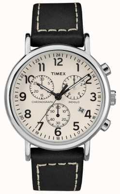 Timex Mens Weekender Chronograph Black Leather Strap TW2R42800D7PF