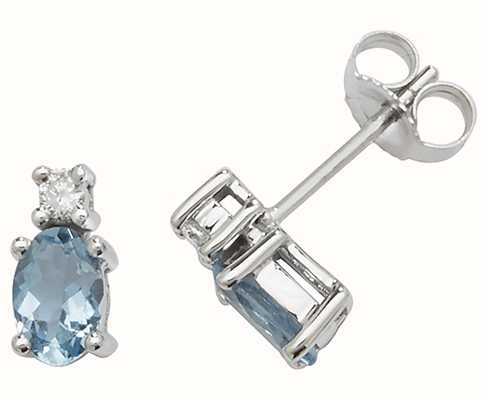 Treasure House 9k White Gold Oval Aquamarine Diamond Stud Earrings ED249WAQ