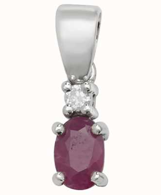 Treasure House 9ct White Gold Ruby And Diamond  Pendant Only PD240WR
