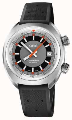 Oris Chronoris Date Grey Dial Black Rubber Strap 01 733 7737 4053-07 4 19 01FC