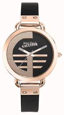 Jean Paul Gaultier Womens Index G Brown Leather Strap Black Dial JP8504325