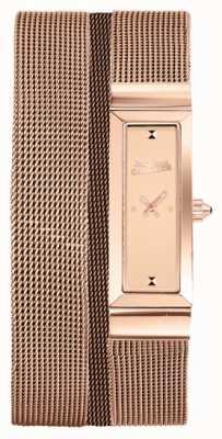 Jean Paul Gaultier Womens Cote De Maille Rose Gold PVD Mesh Bracelet Rose Dial JP8503906