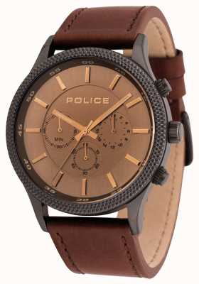Police Mens Pace Brown Leather Chronograph Watch 15002JSU/13
