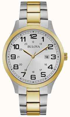 Bulova Mens Dress Watch Two Tone Stainless Steel Bracelet 98B304