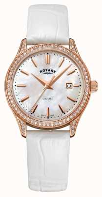 Rotary Womens Oxford Leather Strap Rose Gold Quartz Watch LS05096/41