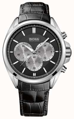 Boss Mens Black Leather Chronograph Watch 1512879