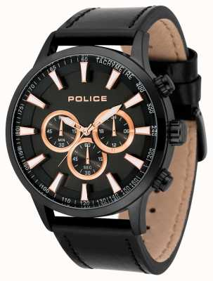 Police Mens Momentum Black Leather Strap Black Dial 15000JSB/02
