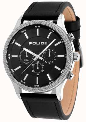 Police Mens Pace Black Leather Strap Black Dial 15002JS/02