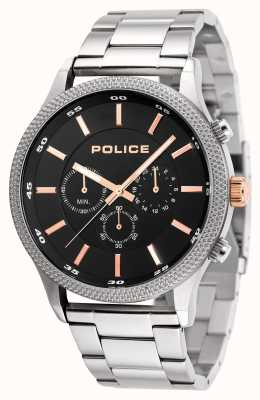 Police Mens Pace Stainless Steel Bracelet Black Dial 15002JS/02M