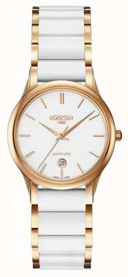 Roamer Womens C-Line White Ceramic Watch Rose Gold Case 657844492560