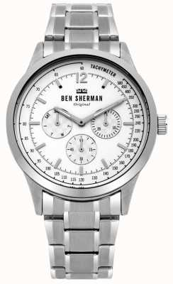 Ben Sherman Mens Silver Bracelet White Multi-function Dial WB073SM
