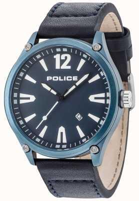 Police Mens Denton Blue Case Blue Dial Leather Strap 15244JBBL/03