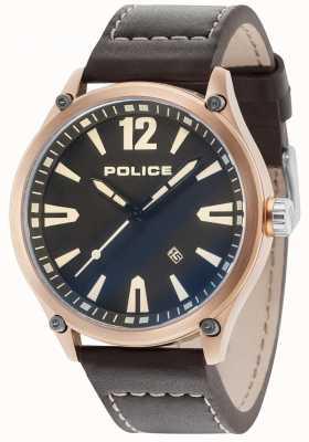 Police Mens Denton Rose Gold Case Black Dial Leather Strap 15244JBR/02