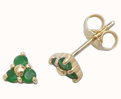 Treasure House 9k Yellow Gold 3 Stone Emerald Stud Earrings ED240E