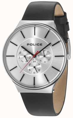 Police Seattle Silver Case Silver Dial Black Leather Strap 15044JS/04
