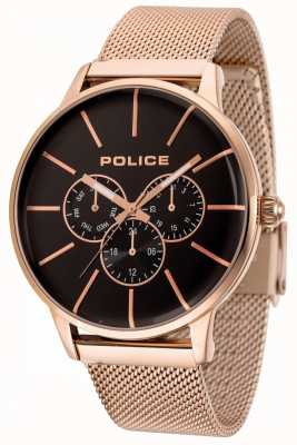 Police Swift Rose Gold Mesh Bracelet With Black Dial 14999JSR/02MM