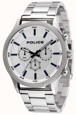 Police Pace Stainless Steel Bracelet With Silver Dial 15002JS/04M