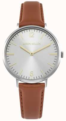 Karen Millen Silver Sunray Dial With Tan Leather Strap KM163T