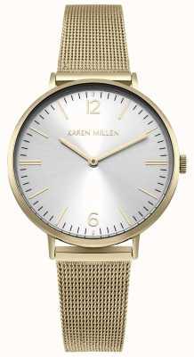 Karen Millen White Sunray Dial With Gold Stainless Steel Bracelet KM163GM