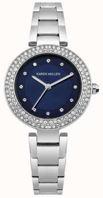 Karen Millen Navy Blue Sunray Dial With Stainless Steel Capped Bracelet KM164USM