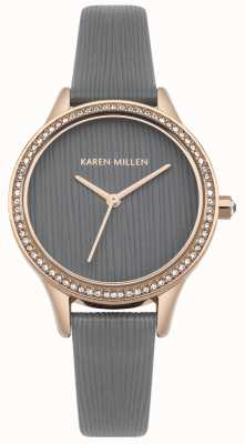 Karen Millen Cool Grey Leather Textured Dial KM165ERG