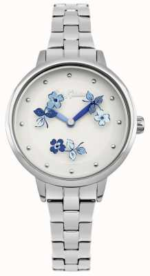 Cath Kidston Blue Floral Print White Dial Stainless Steel Bracelet CKL039SM