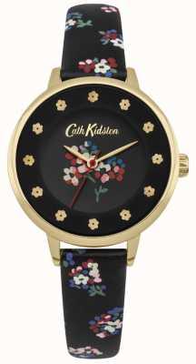 Cath Kidston Black Dial Floral Prints Flower Hour Markers Gold Case CKL040BG