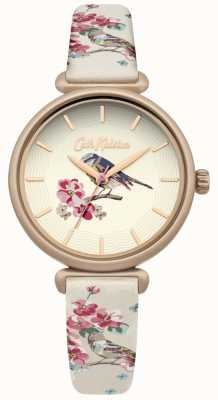 Cath Kidston Floral Bird Print Strap Floral Brid Dial Gold Plated Case CKL041EG