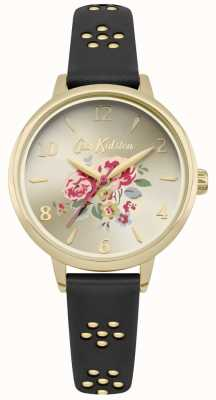 Cath Kidston Black Laser Cut Out Floral Strap Gold Case Floral Dial CKL043BG