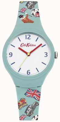 Cath Kidston Teal Silicon Printed Strap White Dial Red Hands CKL026N