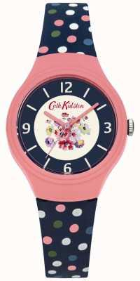 Cath Kidston Floral Dial Blue Strap Scattered Multicolour Polka Dot Strap CKL027UP